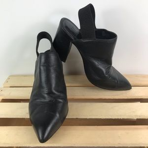 Gianni Bini black leather pointed toe chunky heel